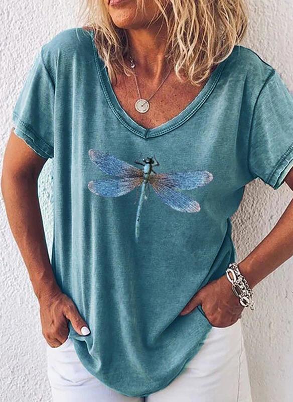 T-shirt Sandbella z dekoltem w kształcie litery v