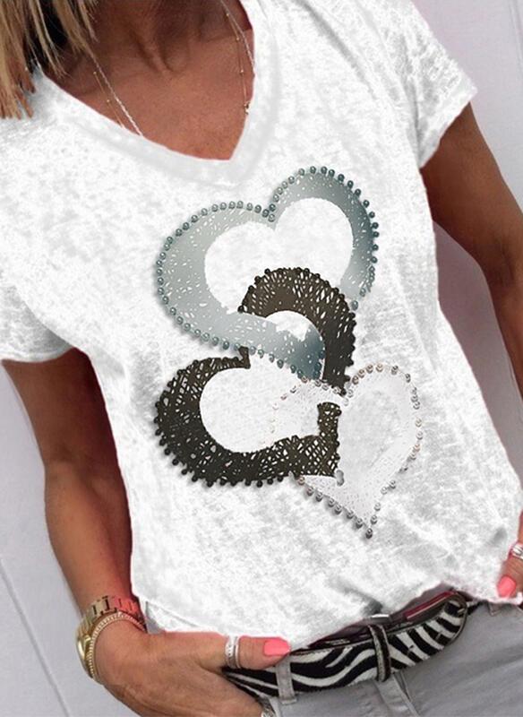 T-shirt Sandbella z okrągłym dekoltem w młodzieżowym stylu z krótkim rękawem
