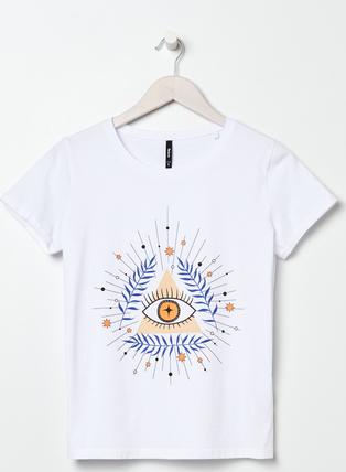 T-shirt Sinsay z bawełny z krótkim rękawem z nadrukiem