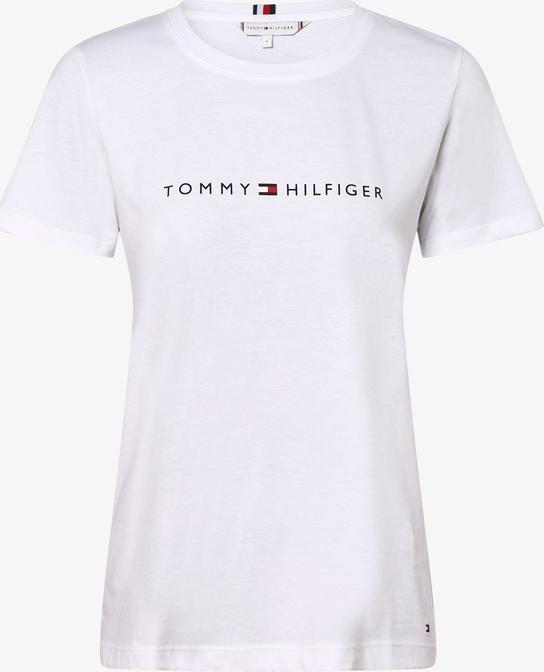 T-shirt Tommy Hilfiger w stylu casual z krÓtkim rękawem z okrągłym dekoltem Odzież Damskie Topy i koszulki damskie IX SPSAIX-8 trwałe modelowanie