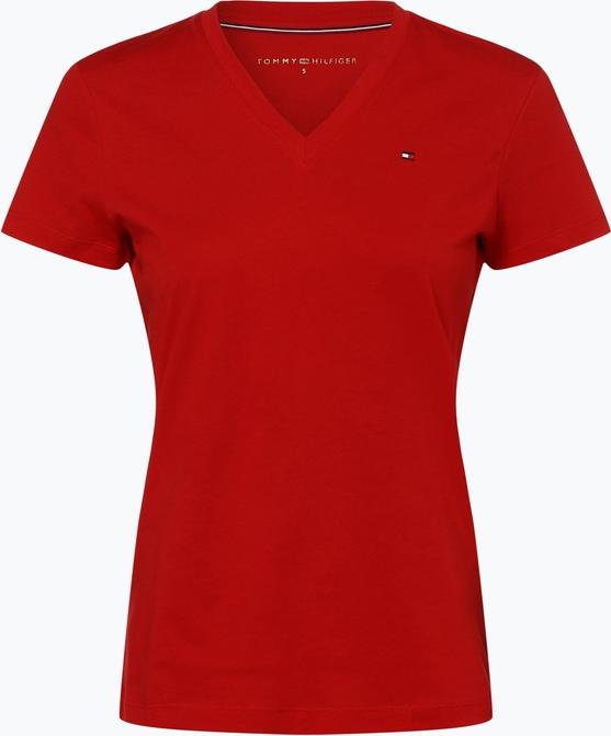 szyk Czerwony t-shirt Tommy Hilfiger z krÓtkim rękawem w stylu casual z bawełny Odzież Damskie Topy i koszulki damskie GY UYBTGY-9