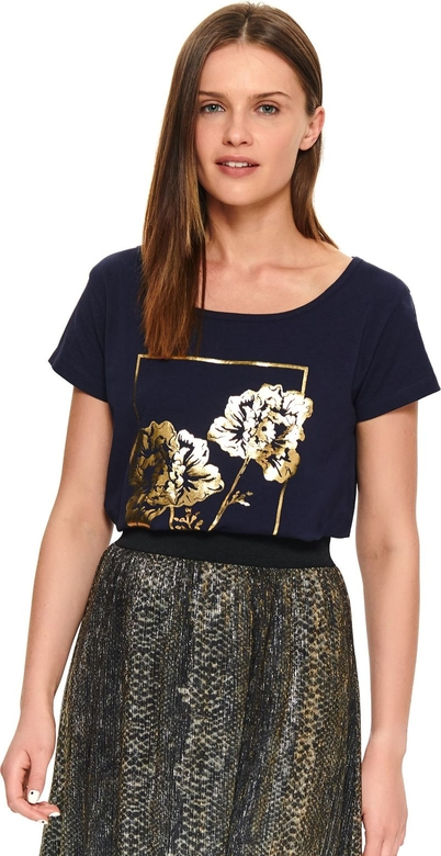 oferta Granatowy t-shirt Top Secret w młodzieżowym stylu z okrągłym dekoltem Odzież Damskie Topy i koszulki damskie SO GGNISO-7