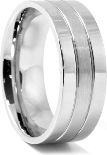 Trendhim Klasyczny srebrny stalowy pierścień