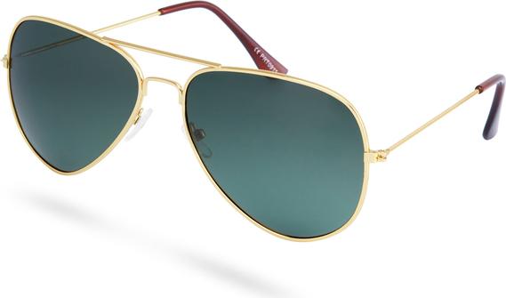 Trendhim Złoto-ciemnozielone polaryzacyjne okulary przeciwsłoneczne pilotki