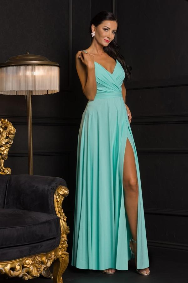 Turkusowa sukienka Elizabeth z dekoltem w kształcie litery v maxi bez rękawów