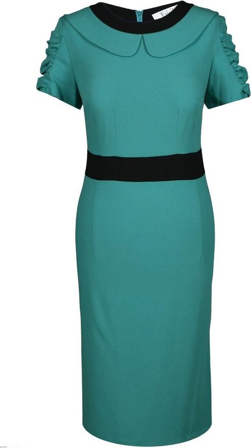Turkusowa sukienka Fokus midi z tkaniny z krótkim rękawem