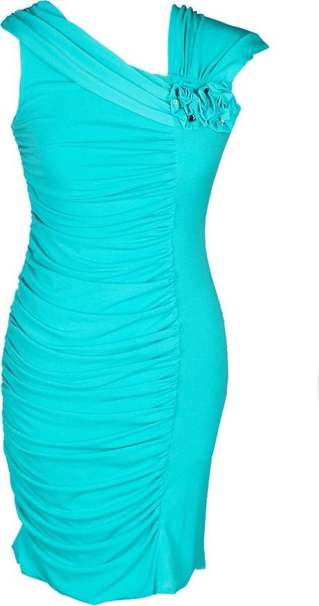 Turkusowa sukienka Fokus z asymetrycznym dekoltem bandażowa