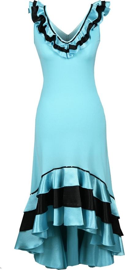 Turkusowa sukienka Fokus z dekoltem w kształcie litery v asymetryczna