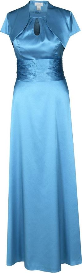 Turkusowa sukienka Fokus z dekoltem w kształcie litery v maxi rozkloszowana