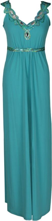 Turkusowa sukienka Fokus z dzianiny rozkloszowana