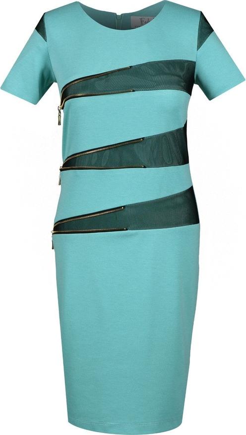 Turkusowa sukienka Fokus z krótkim rękawem z tiulu w stylu glamour