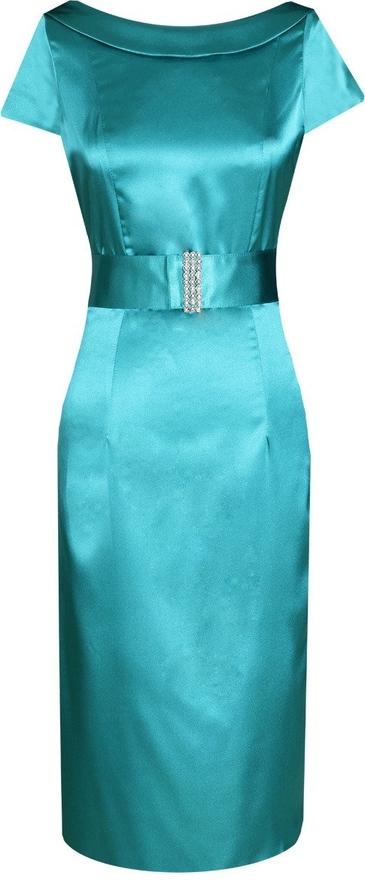 Turkusowa sukienka Fokus z okrągłym dekoltem midi
