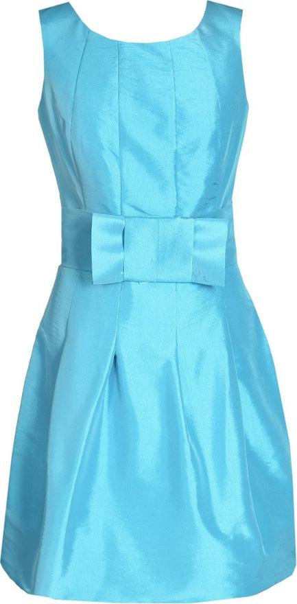 Turkusowa sukienka Fokus z okrągłym dekoltem z krótkim rękawem mini