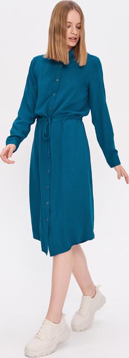 Turkusowa sukienka House midi koszulowa z długim rękawem