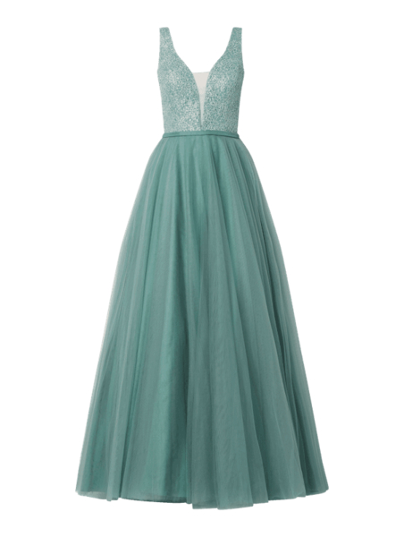 Turkusowa sukienka Luxuar Fashion maxi z dekoltem w kształcie litery v