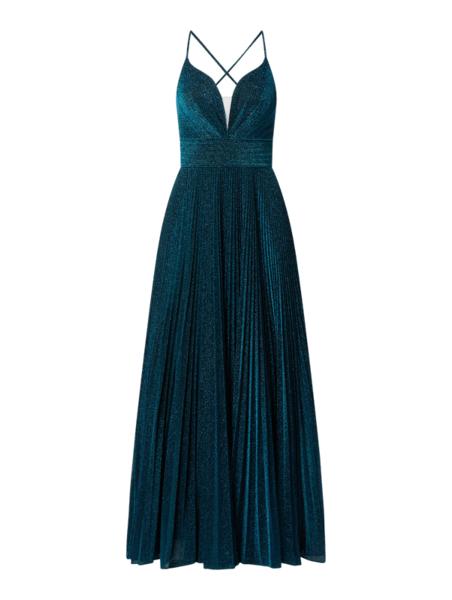 Turkusowa sukienka Mascara z szyfonu na ramiączkach z dekoltem w kształcie litery v
