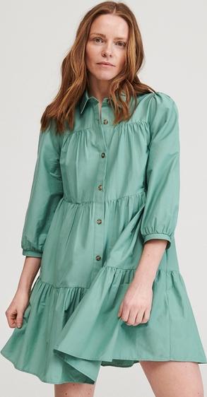 Turkusowa sukienka Reserved koszulowa