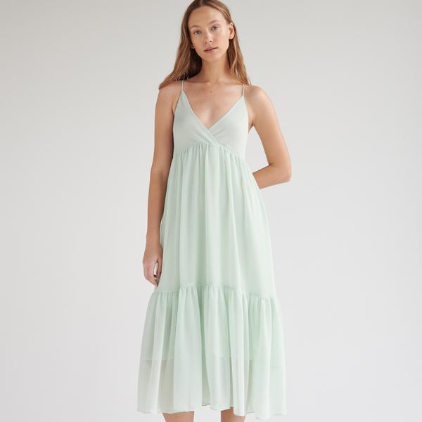 Turkusowa sukienka Reserved z dekoltem w kształcie litery v rozkloszowana na ramiączkach