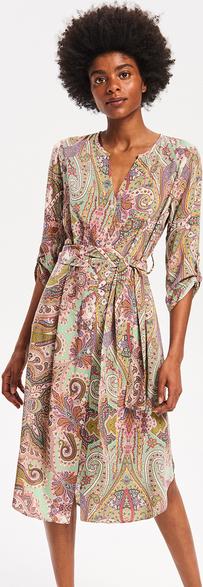 Turkusowa sukienka Reserved z długim rękawem z dekoltem w kształcie litery v