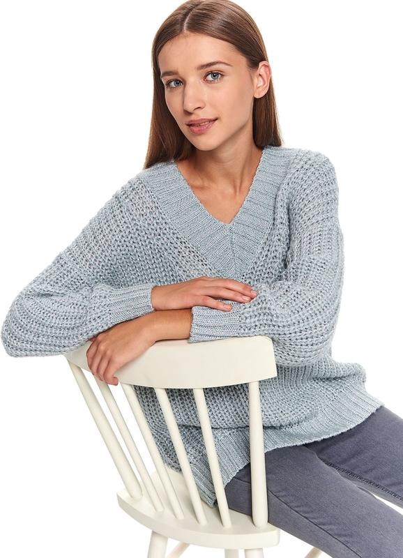 Turkusowy sweter Top Secret w stylu casual