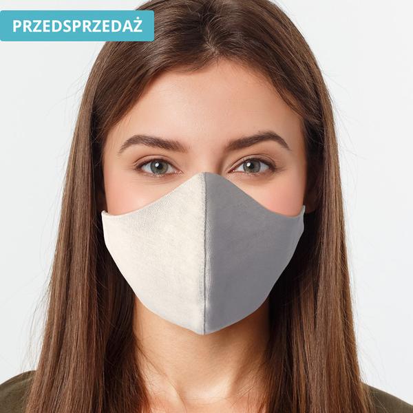 UlubionaMaseczka.pl Lniana damska maseczka ochronna wielorazowa ergonomiczny kształt szara Ona