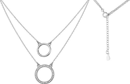 Valerio Rodowany srebrny naszyjnik gwiazd celebrytka kółeczka kółka cyrkonie srebro 925 Z1461N1