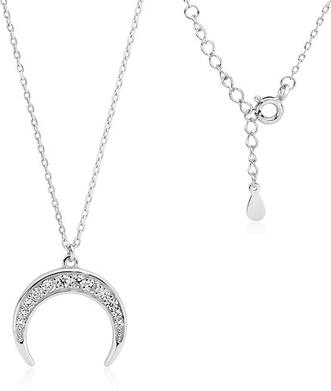 Valerio Rodowany srebrny naszyjnik gwiazd celebrytka księżyc moon białe cyrkonie srebro 925 Z1602N