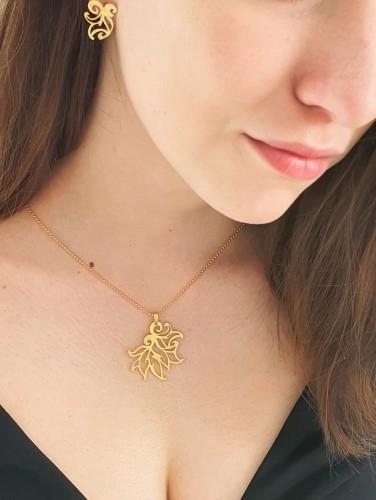 Venus Galeria Wisiorek srebrny - Złote płomyki małe