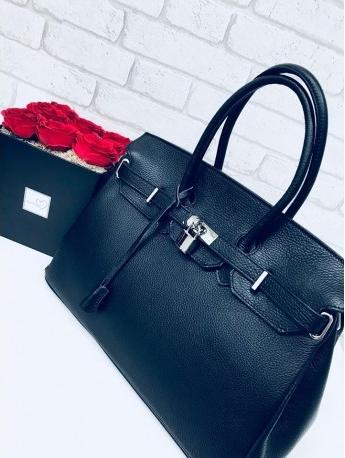 Vera pelle klasyczna skórzana torebka kuferek a la hermes czarny 7b73a1539d2
