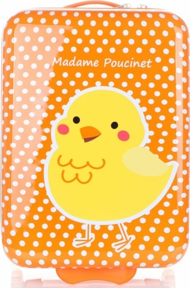 Walizka Kabinówka Dla Dzieci w Kropki z Kurczaczkiem Firmy Madisson Multikolor - Pomarańczowa