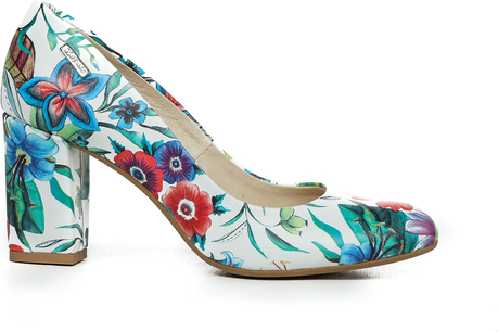 Zapato czółenka - skóra naturalna - model 042 - kolor kwiatek