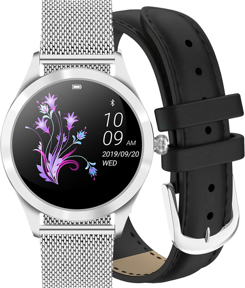 Zegarek GINO ROSSI SMARTWATCH BF1- srebrny + czarny pasek