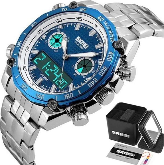 Zegarek męski ELEGANCKI SKMEI 1204 TACHOMETR blue