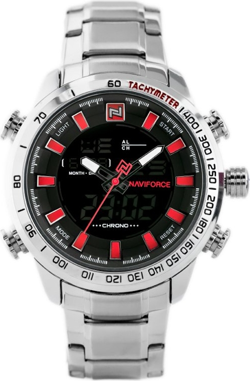 ZEGAREK MĘSKI NAVIFORCE - NF9093 (zn041b) - silver/red + BOX - Srebrny