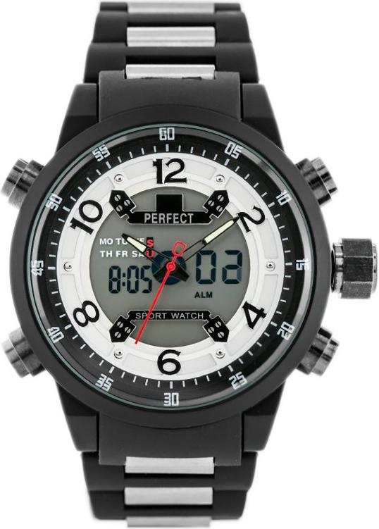 ZEGAREK MĘSKI PERFECT A879 - DUAL TIME (zp224a) - Czarny || Srebrny