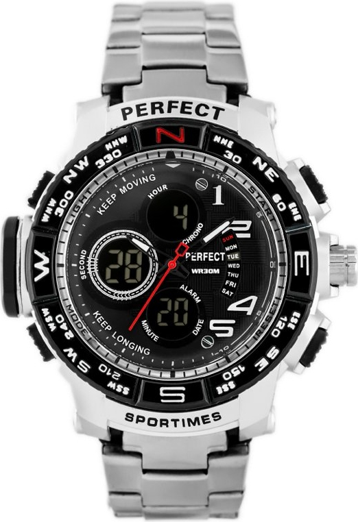 ZEGAREK MĘSKI PERFECT - A896 (zp260a) - silver/black - Srebrny