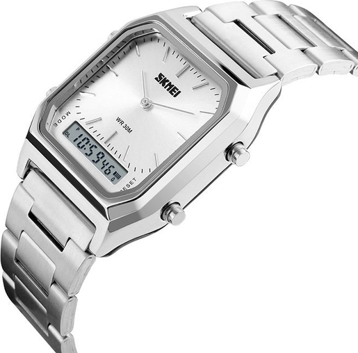 Zegarek męski SKMEI 1220 LED BRANSOLETA srebrny