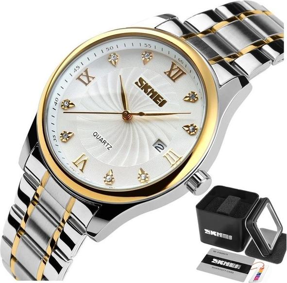 Zegarek męski SKMEI 9101 na bransolecie SREBRNY