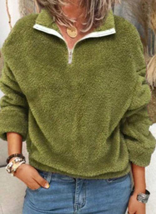 Zielona bluzka Cikelly w stylu casual z dekoltem w kształcie litery v z długim rękawem