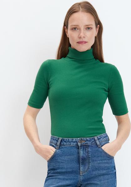 Zielona bluzka Mohito z krótkim rękawem z golfem