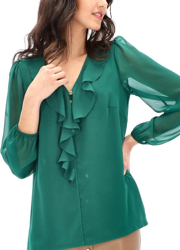 Zielona bluzka POTIS & VERSO z żabotem