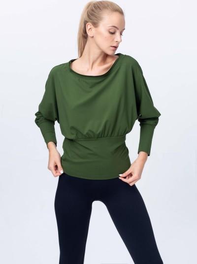 Zielona bluzka Reezy z dzianiny z długim rękawem