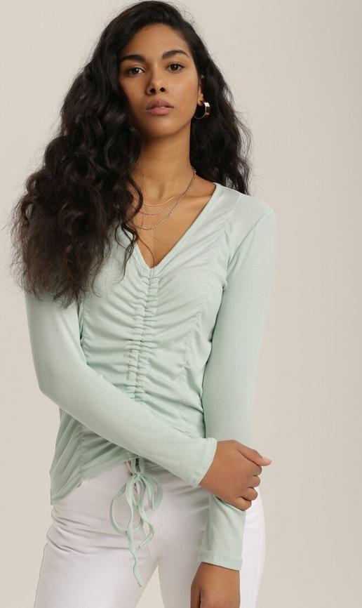 Zielona bluzka Renee w stylu casual z długim rękawem z dekoltem w kształcie litery v