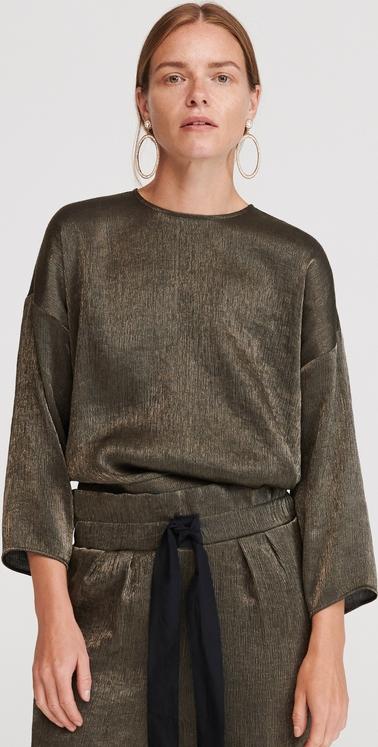 Zielona bluzka Reserved z długim rękawem z okrągłym dekoltem z tkaniny