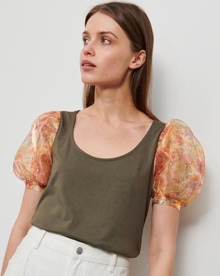 Zielona bluzka Reserved z krótkim rękawem z okrągłym dekoltem w stylu casual