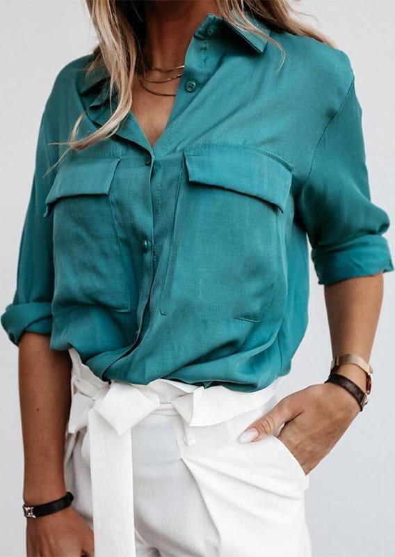 Zielona bluzka Sandbella w stylu casual z długim rękawem
