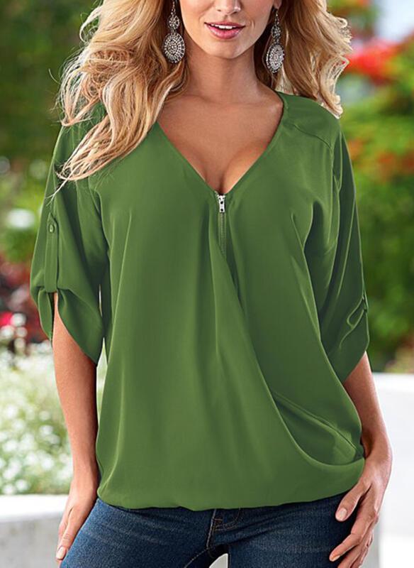 Zielona bluzka Sandbella z bawełny w militarnym stylu