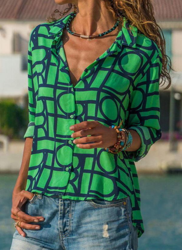 Zielona bluzka Sandbella z długim rękawem z kołnierzykiem