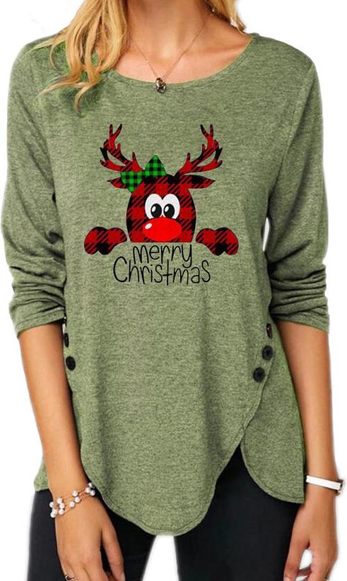 Zielona bluzka Sandbella z okrągłym dekoltem w bożonarodzeniowy wzór