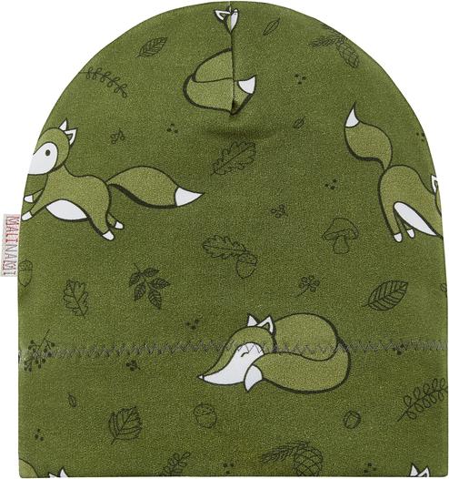 Zielona czapka Malinami z bawełny